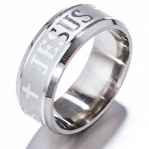 Stainless Steel Jesus Ring Size 11